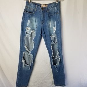 Destroyed Ripped Distressed Jeans - Size Large